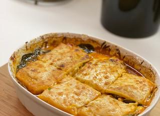 "Butternut Squash ""Lasagna"" with Sausage-Tomato-Cream Sauce"