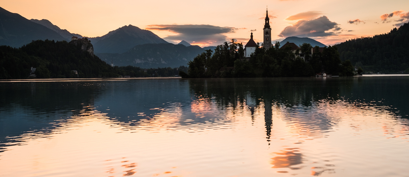 DAWN AT LAKE BLED by Jenny Monk