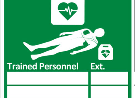 AED TRAINED PERSONNEL SIGN