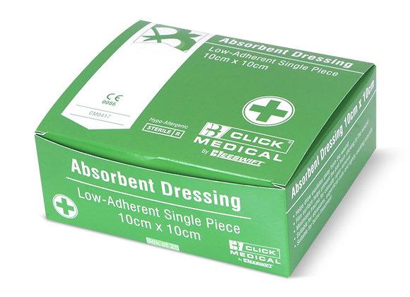 CLICK MEDICAL LOW ADHERENT DRESSING 10x10cm