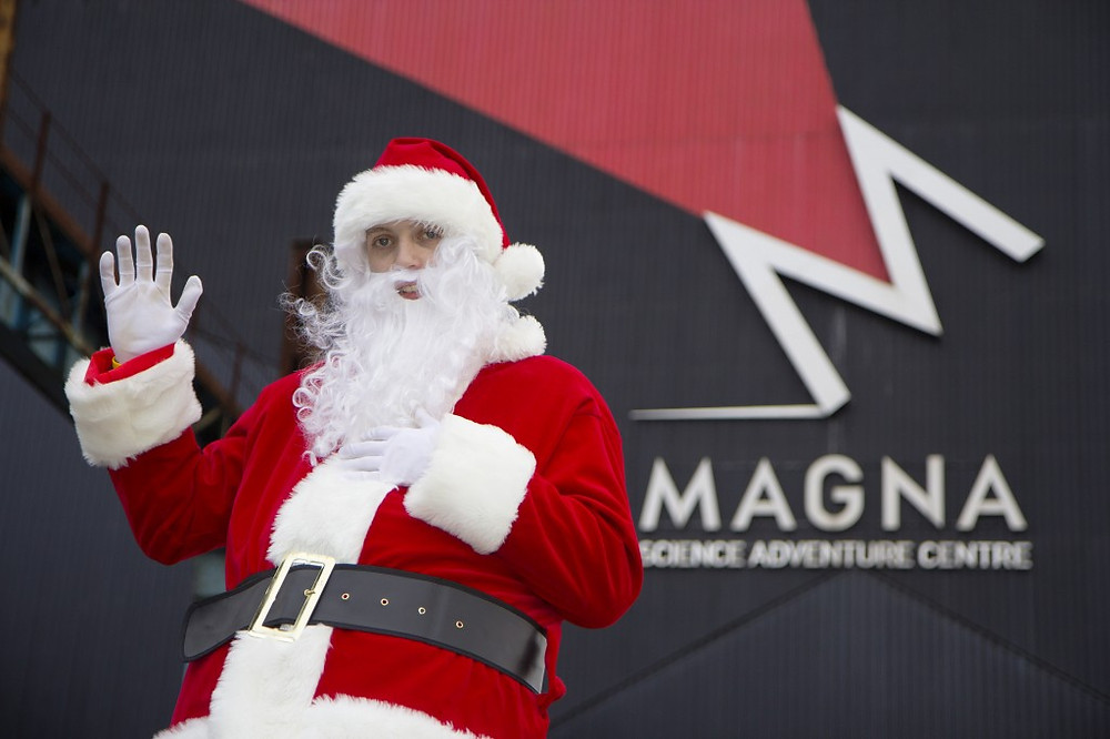 Image of Santa visiting Magna Science Adventure Centre in Rotherham.