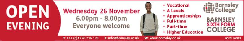Banner for open evening