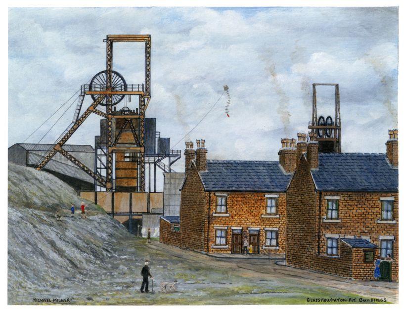 Michael Milner's painting 'Glasshoughton Pit Buildings'