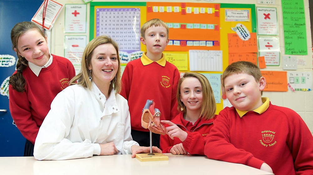Picture of Dr Fran Barnes of Cornerstones with pupils at Reignhead Primary School