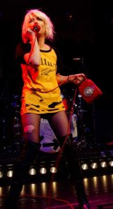 Picture of Debbie onstage 'hanging on the telephone'