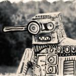 Sepia image of a robot