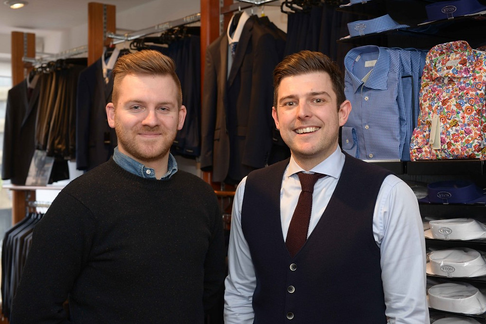 Photo of New recruit James Brown (left) and manager Neil Tennant (right)