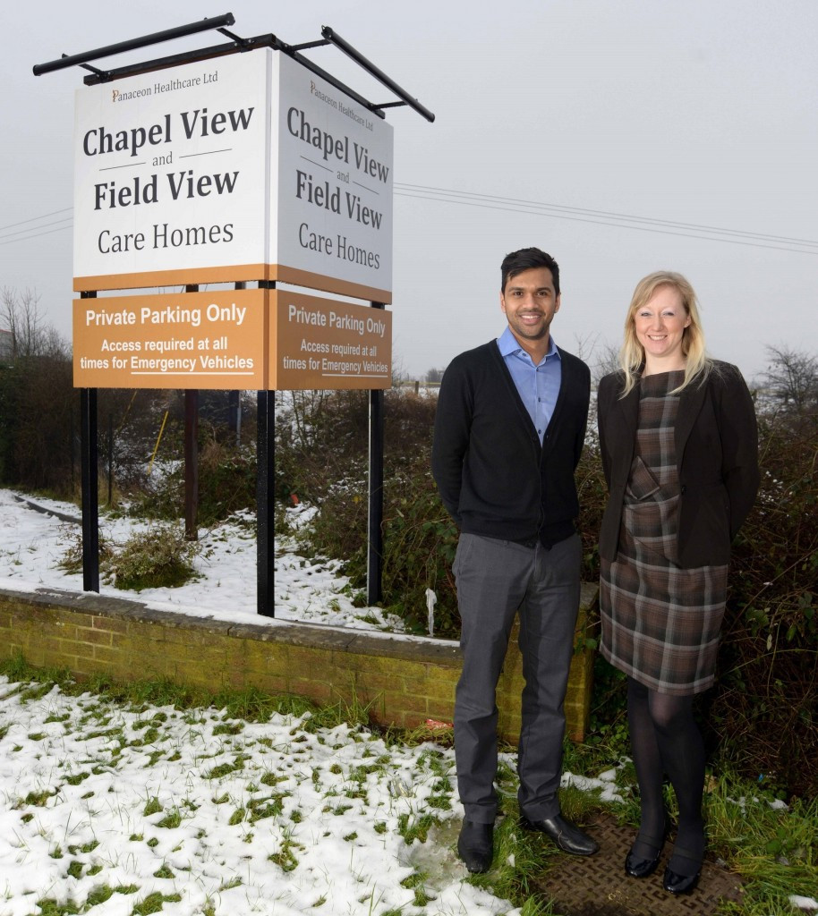 Picture of Director of Panaceon Healthcare Ltd Aditya Jain with care home manager Kay Littledyke at Field View/Chapel View Care Home, Mapplewell, Barnsley, South Yorkshire, UK.