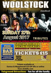 Promotional poster for the Woodstock event taking place at Woolley Cricket Club