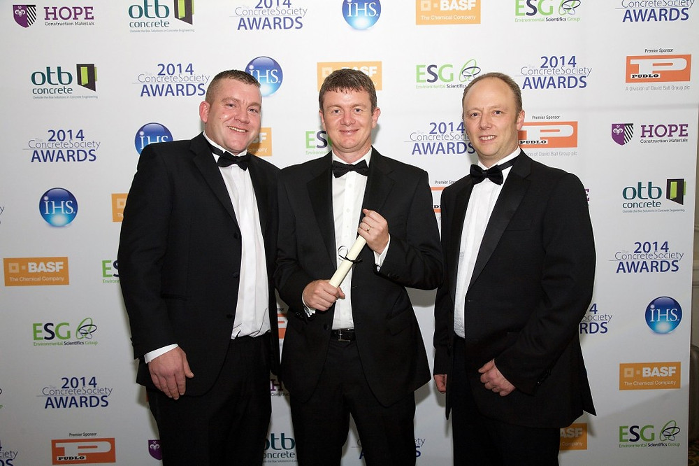 Picture of Cidon's Stephen Auton, operations director Steve Simpson and Rob Smith at the Concrete Society Awards