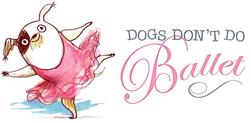 Promo image featuring cartoon dog in a pink ballet dress in mid-pirouette