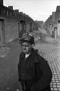 Image of Young Yorkshire miner heading home in Harde, Yorkshire