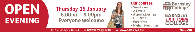 Banner advert and link to Open Evening Info on Barnsley College website
