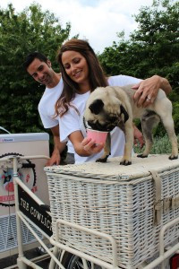 Picture of Rory and Carly Fallon of the Cowlick Creamery with Bertie the pug