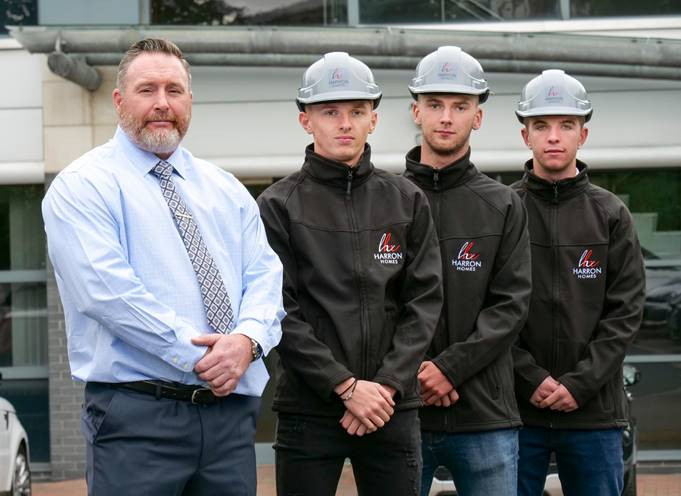 Harron Homes Health, Safety & Environment Manager Lee Howard with apprentices Elliot Edwards, Jordan Sayles and Dylon Collett.