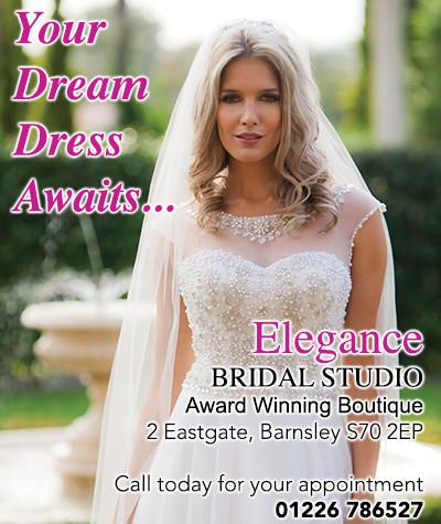 Advert for Elegance Bridal Studios showing lady in wedding dress