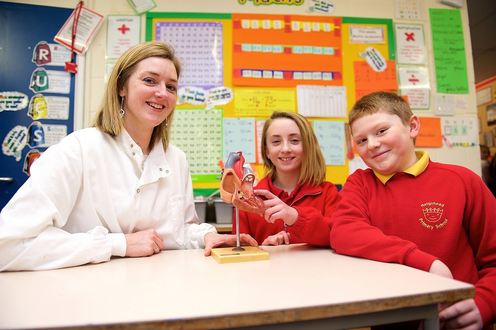 Picture of Cornerstones' Fran Barnes with Sheffield Reignhead Primary pupils Shannon White and Zakk Towers