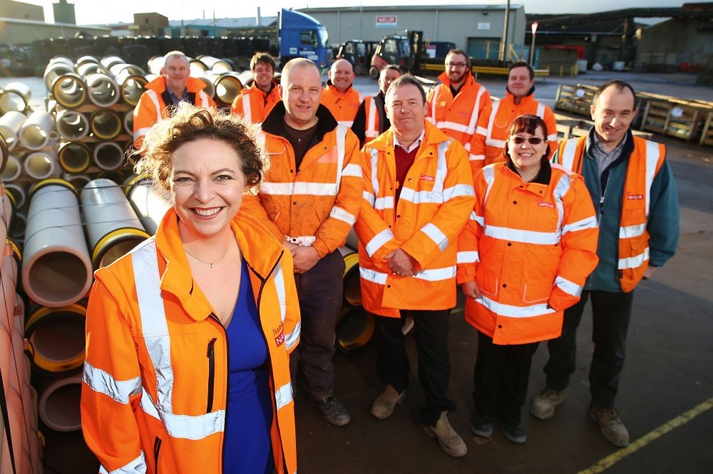 Image of Bridie Warner-Adsetts, Chief Operating Officer at Naylor Industries, with (back l-r) Ade Dickonson, Alistair Barraclough, Ian Taylor, Martyn Peace, Roy Town, Simon Marsh, Jonathan Kelly, Carl Robb, Elaine Jackson, David Waite. Picture: Enterprising Barnsley