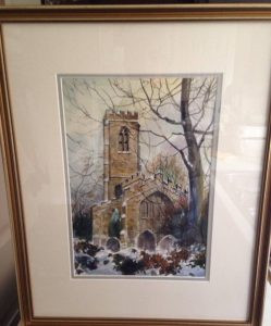 Painting of Darton Church Under Snow