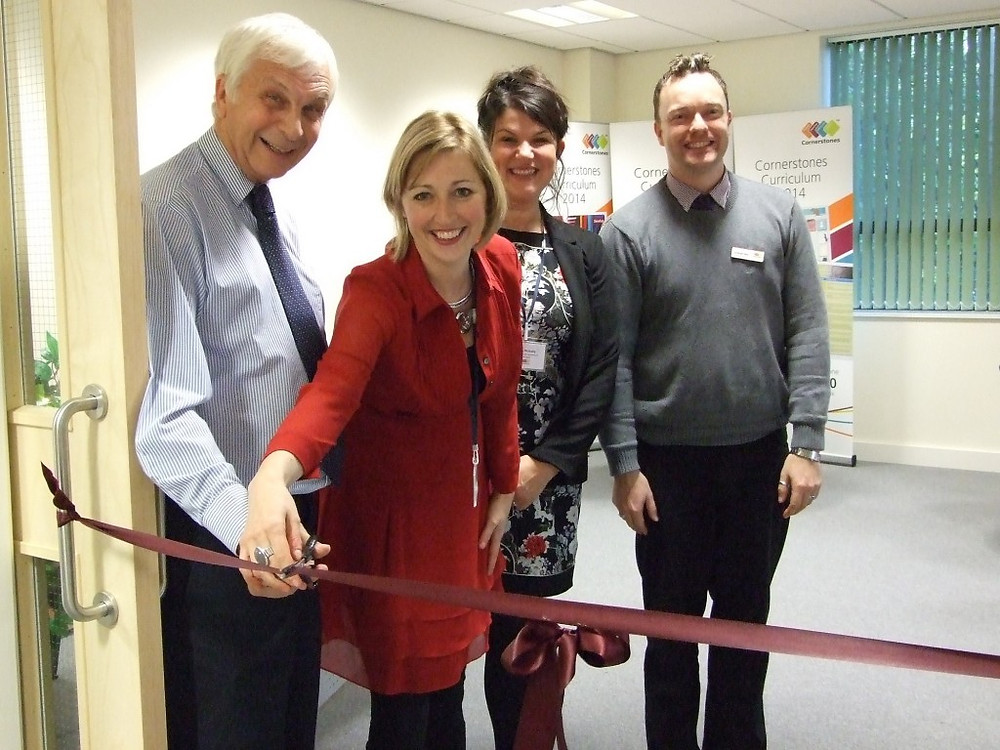 Image showing Ribbon cutting with Mick Waters, Melanie Moore, Julia McInally and Graham Bell
