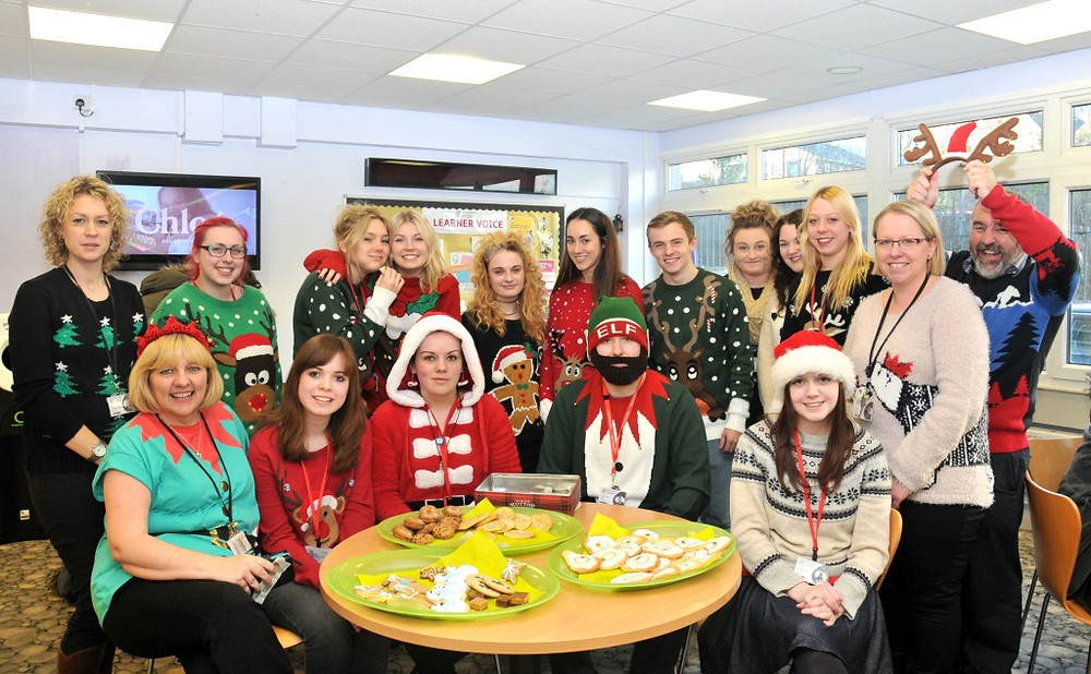 Picture of staff and students on Christmas Jumper Day