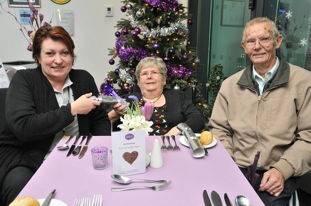 Photo: (l to r) Raychel McGuin, Judith Bisset and Ian Bisset in Zest Restaurant at Barnsley College