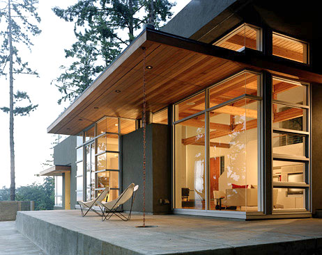 Rain Chain on Modern Home