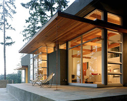 Rain Chain on Modern Home