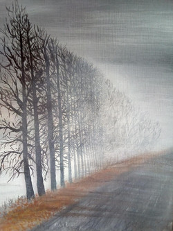 Trees walking into the mist