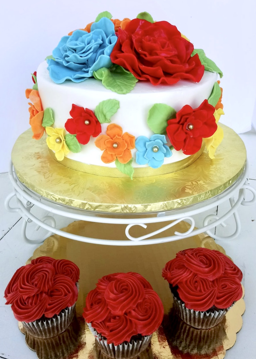 Brightly Floral Rosette Cupcakes