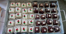 Petit Fours: Vanilla with Raspberry & Chocolate with Chocolate Mousse