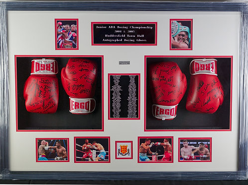 Framed, Signed Gloves from Junior ABA 2004-05 with Photos