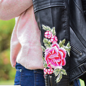 Pink Beret and Leather Florals