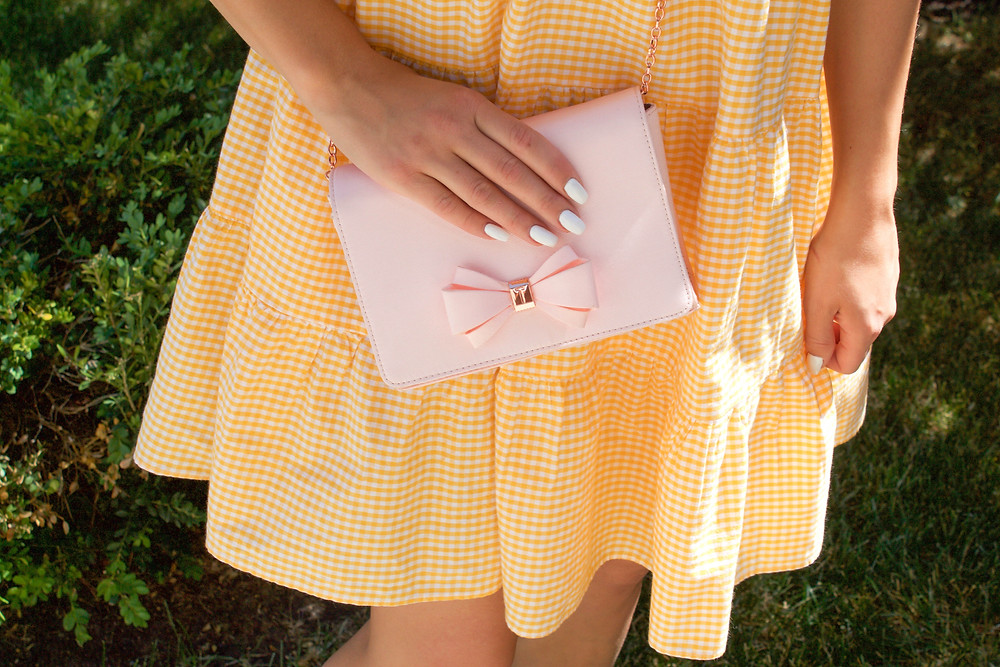 Yellow Gingham Dress and Ted Baker Clutch