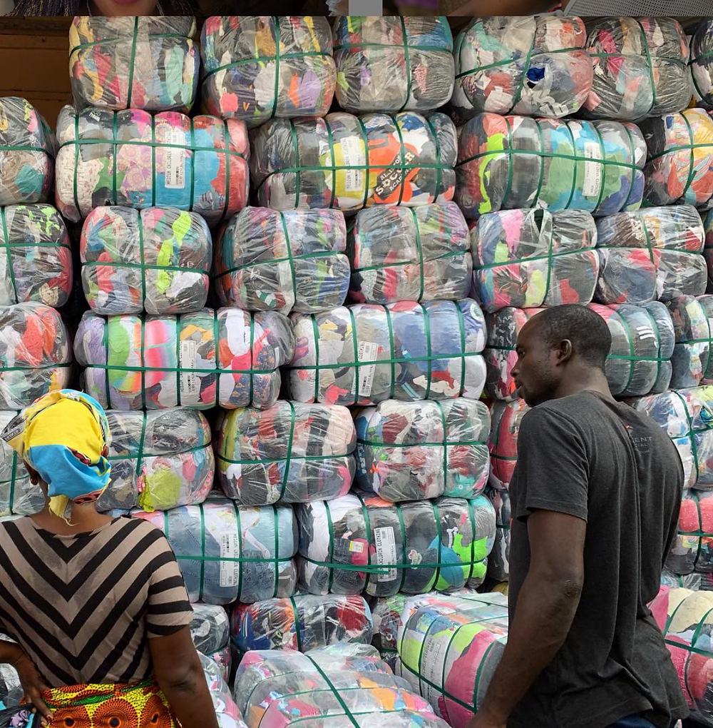 Bales stacked at the Kantamanto Market, Accra, Ghana