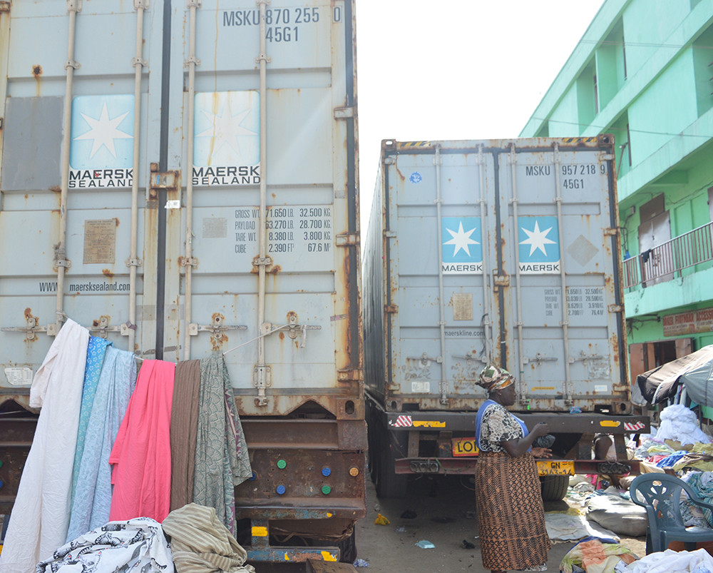 Containers transporting second hand clothing in Ghana