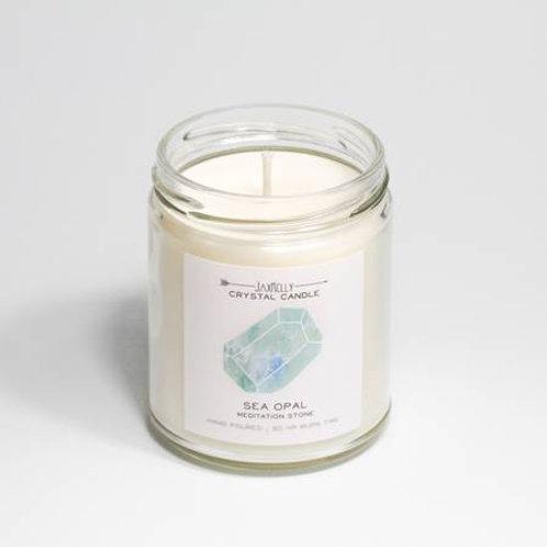 Sea Opal Crystal Candle - Meditation