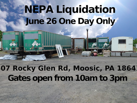 Materials Sale and Storage Trailer Sale Saturday the 26th
