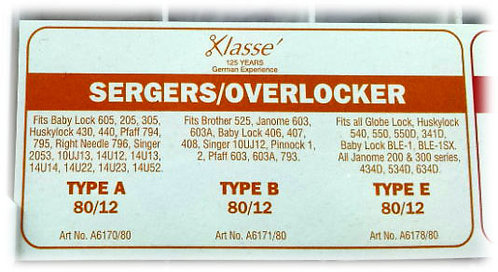 Klasse over lock sewing machine needles