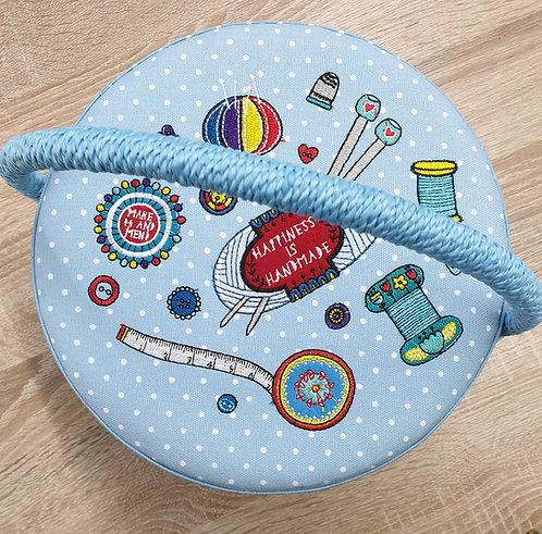 Round sewing box shipleyhaberdashery & crafts online uk top view