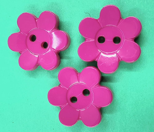 flower buttons 15mm 18mm deep pink shipley haberdashery and crafts online west yorkshire uk