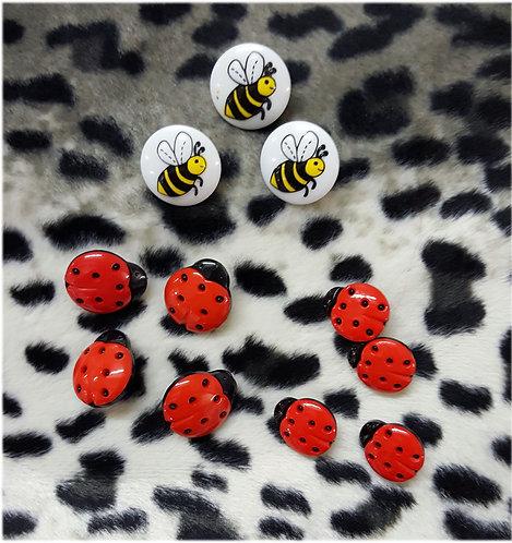 Buttons ladybird 15 mm ladybird 25 mm bee 18 mm