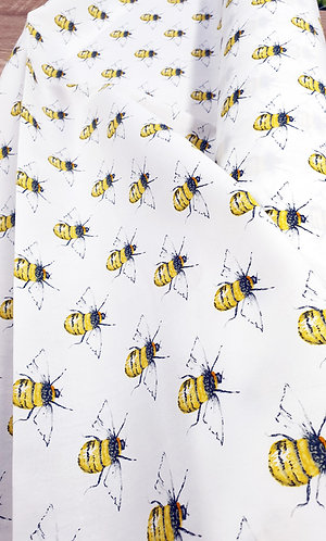 Rose & Hubble 100% cotton bee fabric shipley haberdashery & crafts ivory background