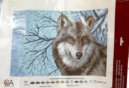 Embroidery aida cross stitch snow wolf shipley haberdashery & crafts ltd online shipley west yorkshire uk