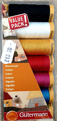 Gutermann 100% cotton 7 colours value pack shipley haberdashery online uk