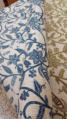 Jute printed fabric blue shipley haberdashery & crafts west yorkshire online