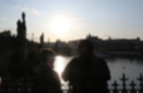 Dan and Cal July 2019 Prague View at sun
