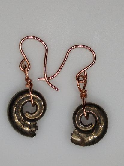 Pyrite Ammonite Fossil Earrings