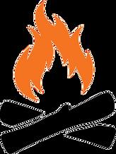 The Firewood Farm Logo - Orange fire over black logs