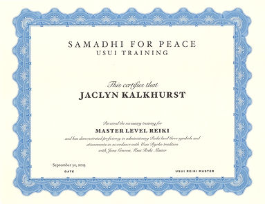 Usui Reiki Master's Certificate Samadhi